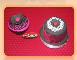 Cupcake y tortita decorada con encaje