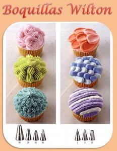 Cupcakes con boquillas Wilton